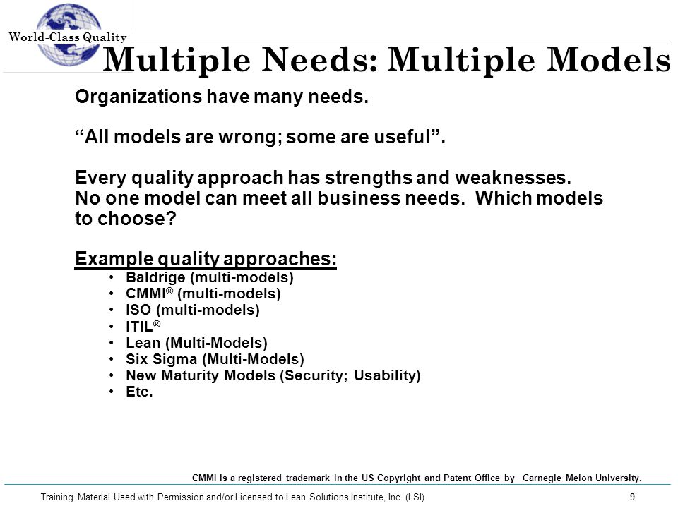 World-Class Quality 30 Training Material Used with Permission and/or Licensed to Lean Solutions Institute, Inc.