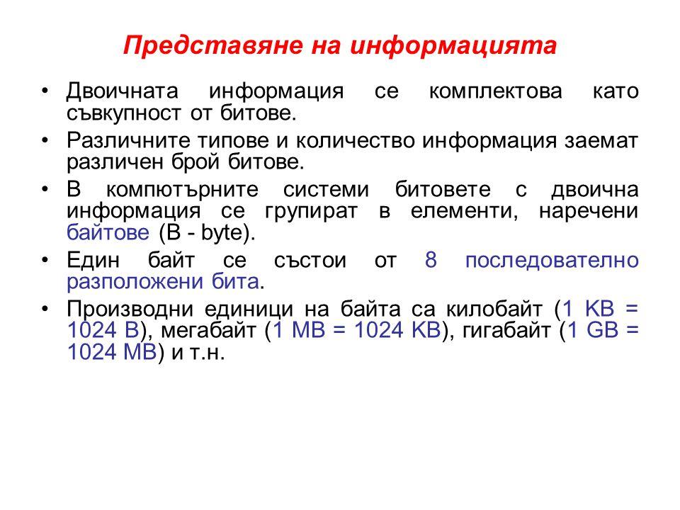 Представяне на информацията •Двоичната информация се комплектова като съвкупност от битове. •Различните типове и количество информация заемат различен