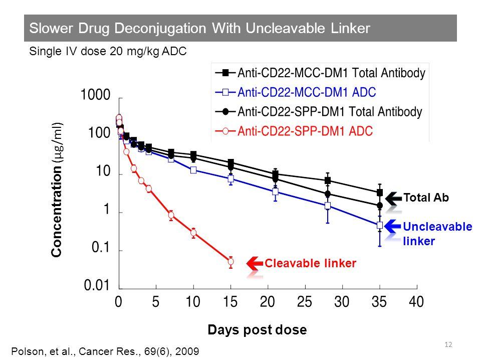 Slower Drug Deconjugation With Uncleavable Linker 12 Polson, et al., Cancer Res., 69(6), 2009 Days post dose Concentration (µg/ml) Single IV dose 20 m