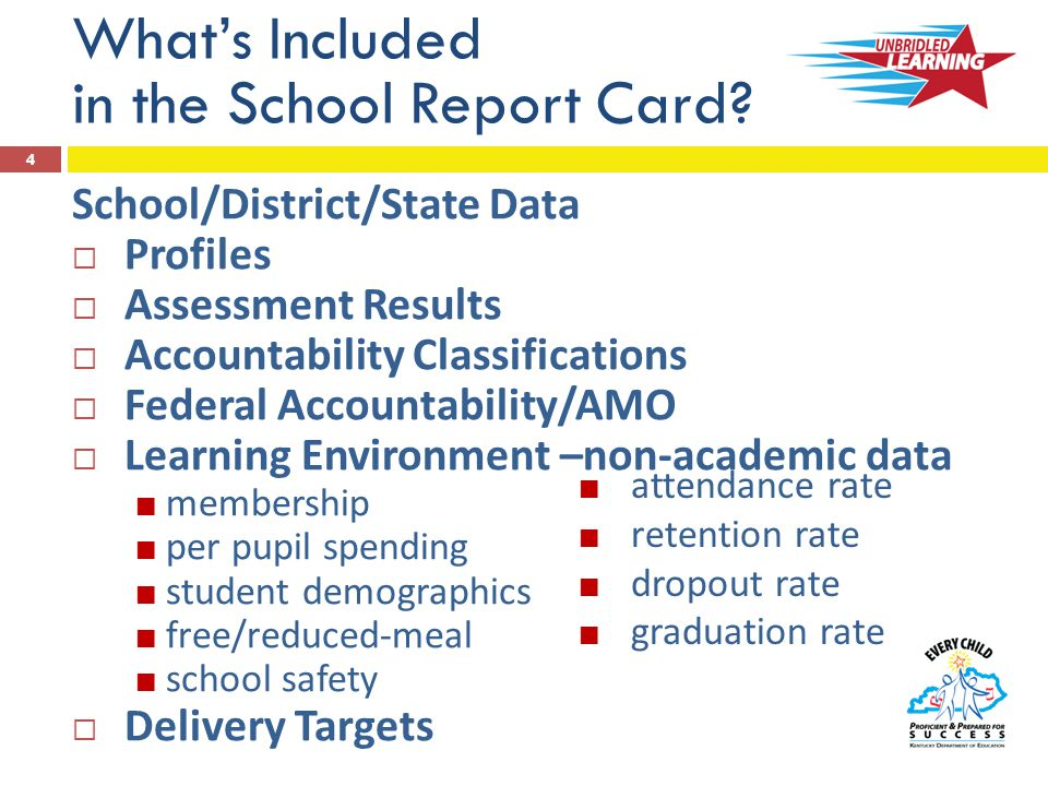 Assessment Data  K-PREP (Kentucky Performance Rating for Educational Progress) -- Grades 3-8  Scores and performance levels (NAPD) o Reading o Mathematics o Science  EXPLORE, PLAN, ACT (Grades 8, 10, 11)  Scores and benchmarks  End-of-Course o English II o Algebra II  Writing (Grades 5, 6, 8, 10-11)  Editing/mechanics (Grades 4, 6, 10 (Plan)) o Social Studies o Writing/mechanics o Biology o U.S.