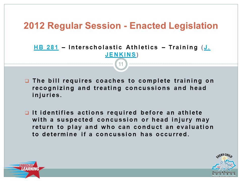 HB 281HB 281 – Interscholastic Athletics – Training (J. JENKINS)J. JENKINS  The bill requires coaches to complete training on recognizing and treatin
