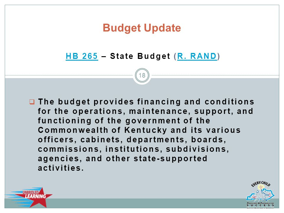 HB 265HB 265 – State Budget (R. RAND)R.