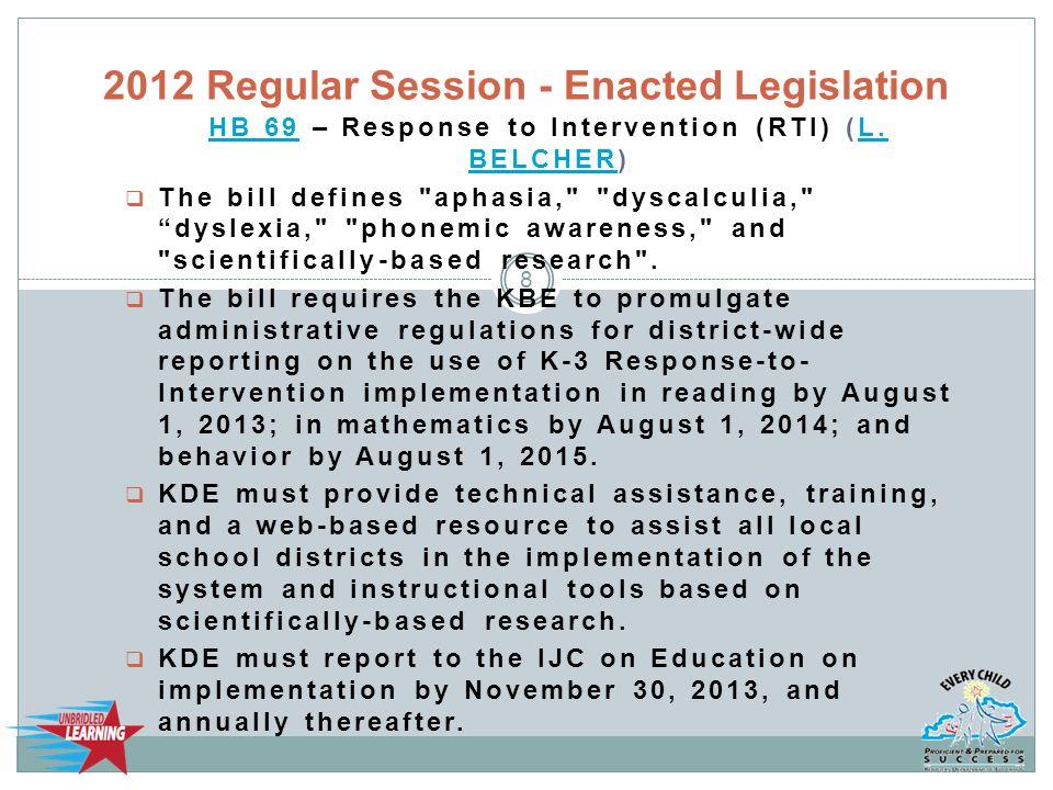 HB 69HB 69 – Response to Intervention (RTI) (L. BELCHER)L.