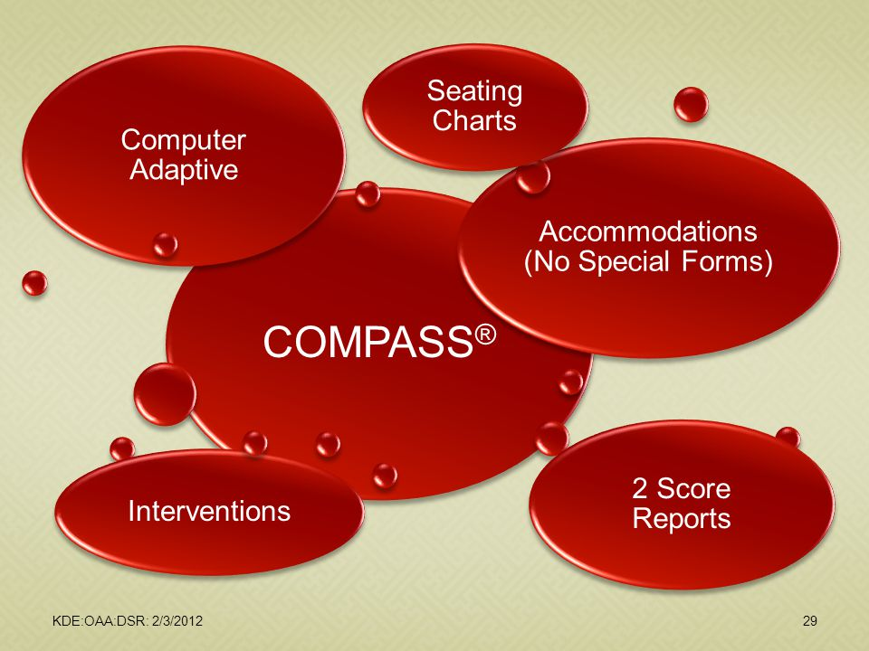 KDE:OAA:DSR: 2/3/201229 COMPASS ® Computer Adaptive Accommodations (No Special Forms) 2 Score Reports Interventions Seating Charts
