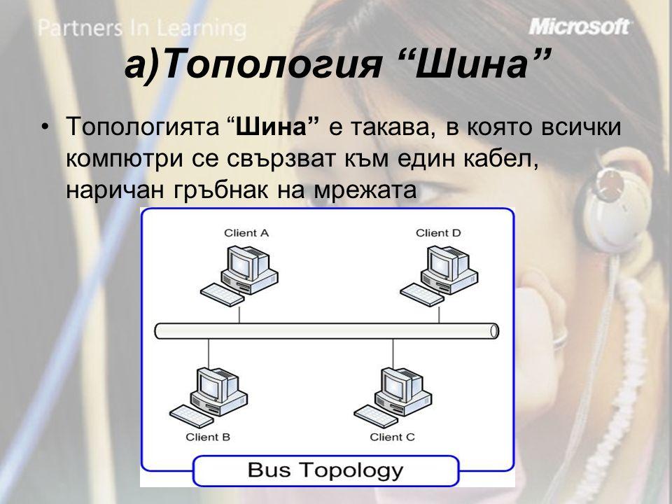 а)Топология Шина •Топологията Шина е такава, в която всички компютри се свързват към един кабел, наричан гръбнак на мрежата