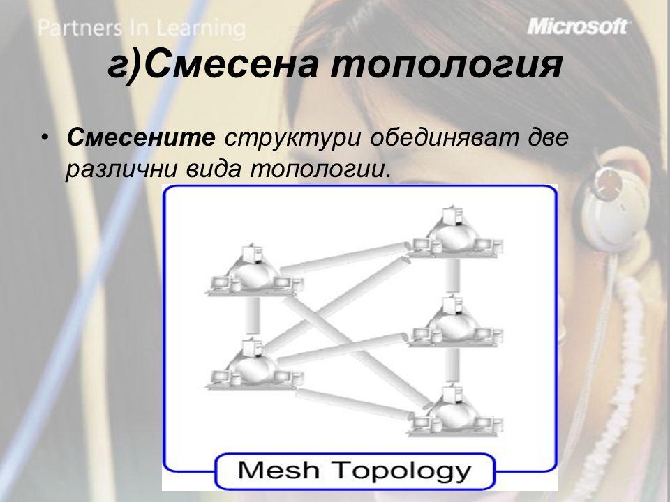 г)Смесена топология •Смесените структури обединяват две различни вида топологии.