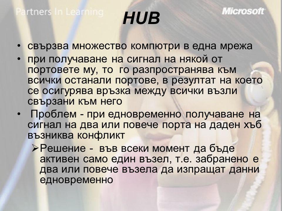 HUB •свързва множество компютри в една мрежа •при получаване на сигнал на някой от портовете му, то го разпространява към всички останали портове, в резултат на което се осигурява връзка между всички възли свързани към него • Проблем - при едновременно получаване на сигнал на два или повече порта на даден хъб възниква конфликт  Решение - във всеки момент да бъде активен само един възел, т.е.