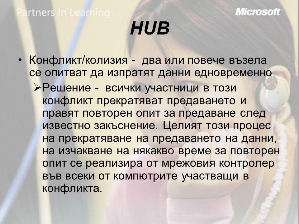 HUB •Конфликт/колизия - два или повече възела се опитват да изпратят данни едновременно  Решение - всички участници в този конфликт прекратяват предаването и правят повторен опит за предаване след известно закъснение.