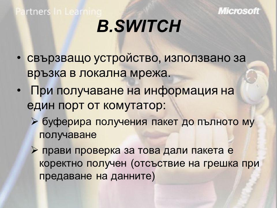В.SWITCH •свързващо устройство, използвано за връзка в локална мрежа.