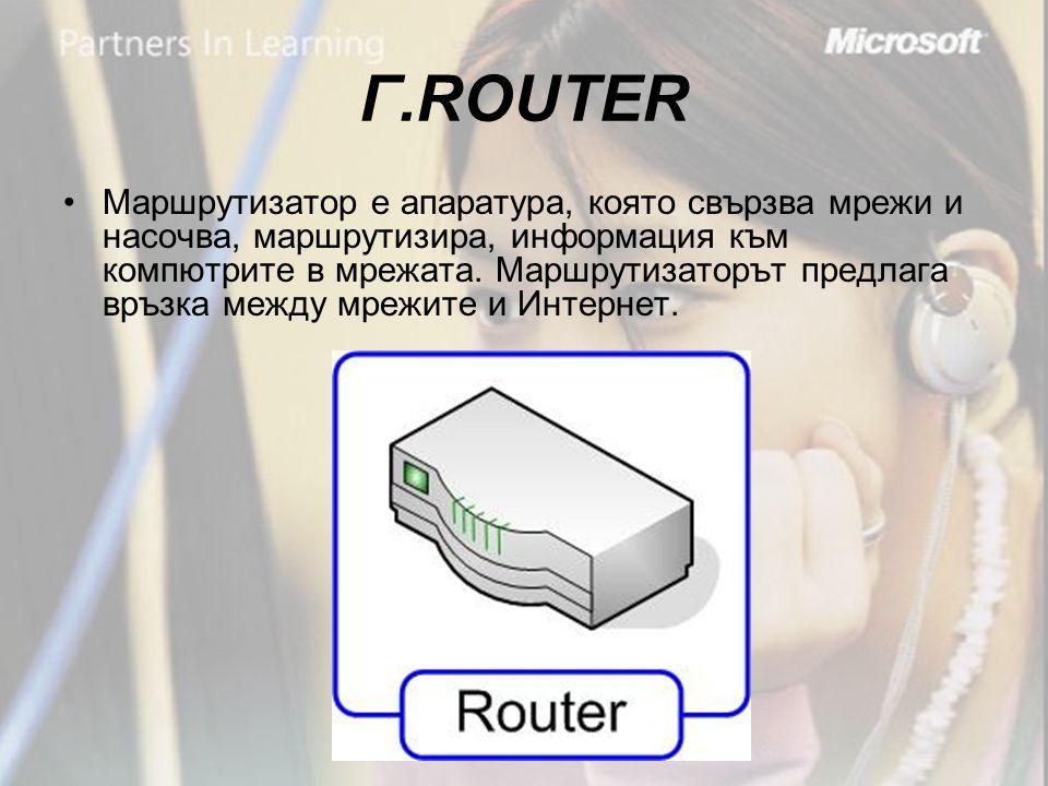 Г.ROUTER •Маршрутизатор е апаратура, която свързва мрежи и насочва, маршрутизира, информация към компютрите в мрежата.