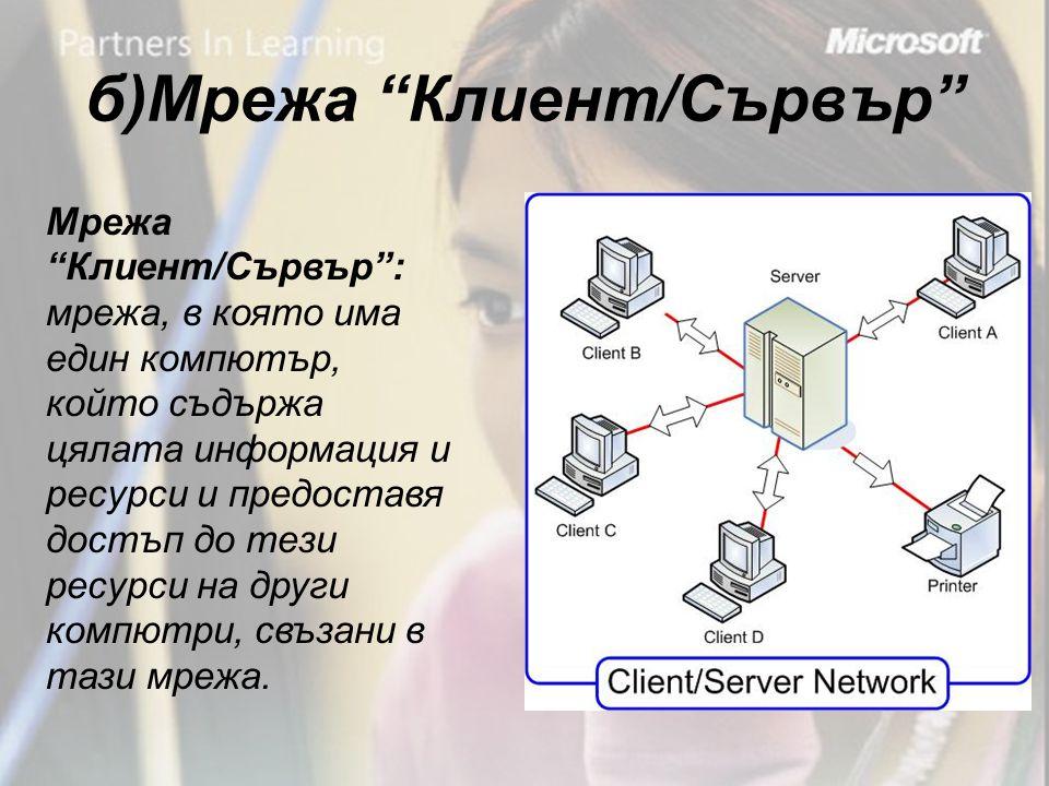 б)Мрежа Клиент/Сървър Мрежа Клиент/Сървър : мрежа, в която има един компютър, който съдържа цялата информация и ресурси и предоставя достъп до тези ресурси на други компютри, свъзани в тази мрежа.
