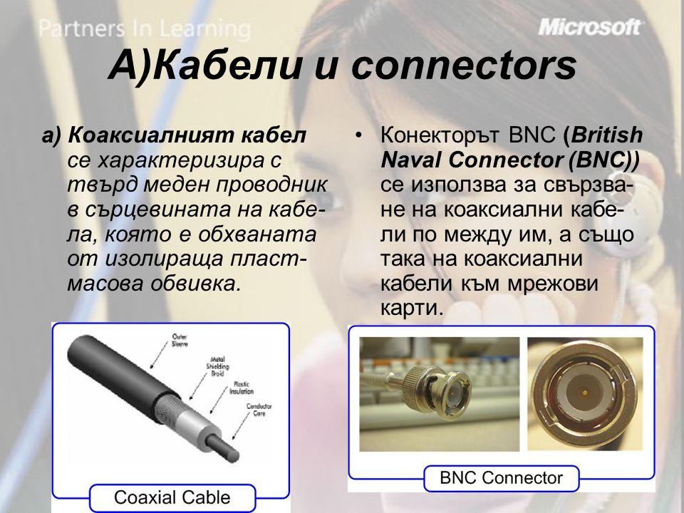 А)Кабели и connectors а) Коаксиалният кабел се характеризира с твърд меден проводник в сърцевината на кабе- ла, която е обхваната от изолираща пласт- масова обвивка.