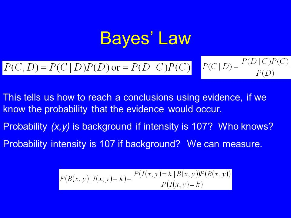 Bayes' Law This tells us how to reach a conclusions using evidence, if we know the probability that the evidence would occur.