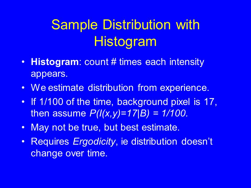 Sample Distribution with Histogram •Histogram: count # times each intensity appears.