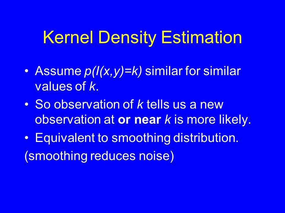 Kernel Density Estimation •Assume p(I(x,y)=k) similar for similar values of k. •So observation of k tells us a new observation at or near k is more li