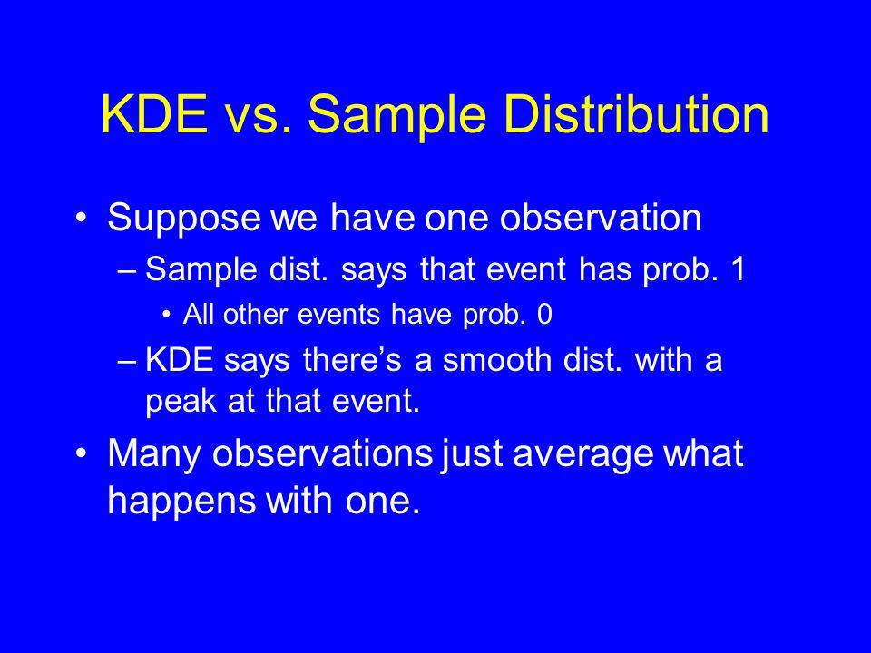 KDE vs. Sample Distribution •Suppose we have one observation –Sample dist.