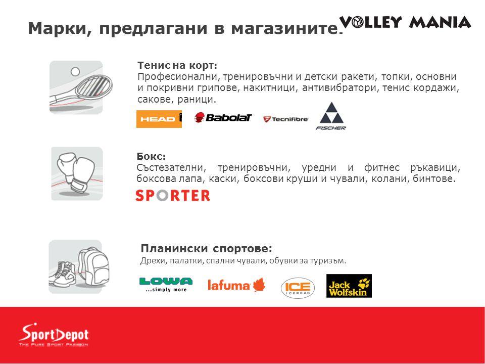 Mарки, предлагани в магазините: Тенис на корт: Професионални, тренировъчни и детски ракети, топки, основни и покривни грипове, накитници, антивибратори, тенис кордажи, сакове, раници.