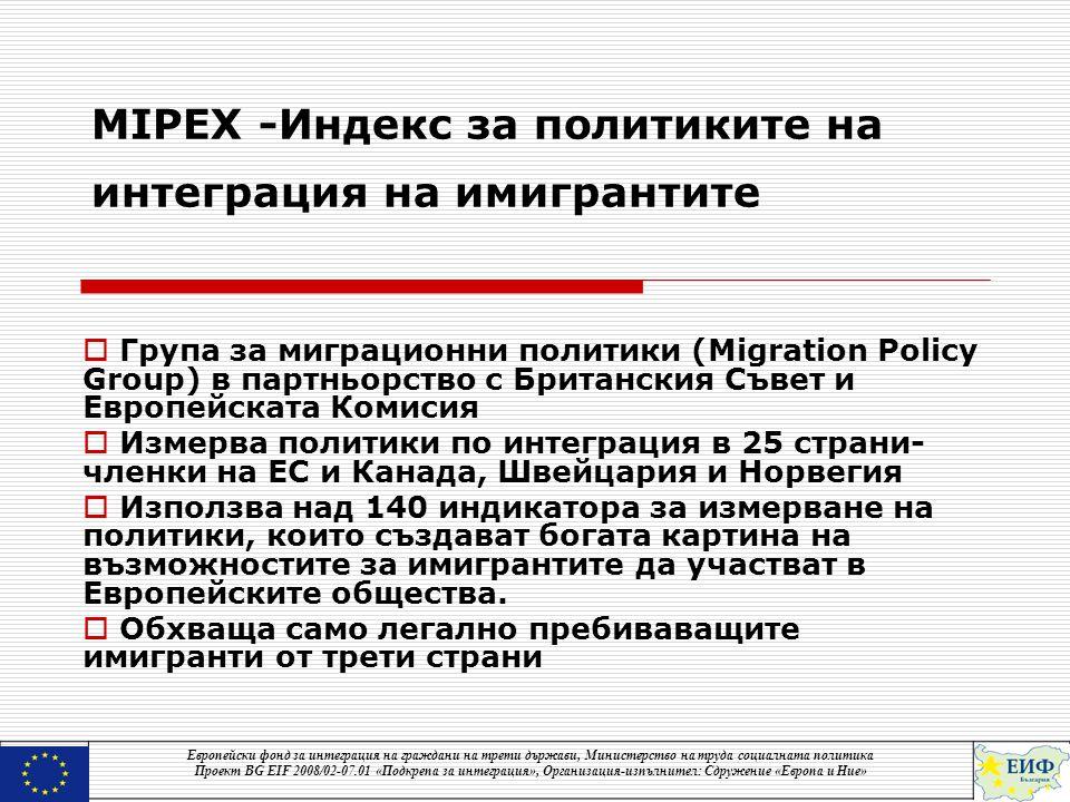 MIPEX -Индекс за политиките на интеграция на имигрантите  Група за миграционни политики (Migration Policy Group) в партньорство с Британския Съвет и Европейската Комисия  Измерва политики по интеграция в 25 страни- членки на ЕС и Канада, Швейцария и Норвегия  Използва над 140 индикатора за измерване на политики, които създават богата картина на възможностите за имигрантите да участват в Европейските общества.