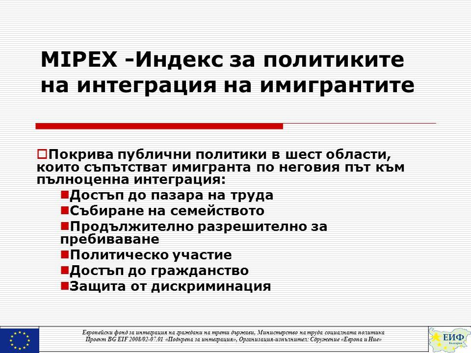 MIPEX -Индекс за политиките на интеграция на имигрантите  Покрива публични политики в шест области, които съпътстват имигранта по неговия път към пълноценна интеграция:  Достъп до пазара на труда  Събиране на семейството  Продължително разрешително за пребиваване  Политическо участие  Достъп до гражданство  Защита от дискриминация Европейски фонд за интеграция на граждани на трети държави, Министерство на труда социалната политика Проект BG EIF 2008/02-07.01 «Подкрепа за интеграция», Организация-изпълнител: Сдружение «Европа и Ние»