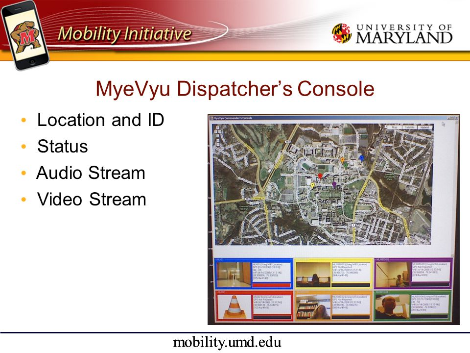 mobility.umd.edu MyeVyu Dispatcher's Console • Location and ID • Status • Audio Stream • Video Stream