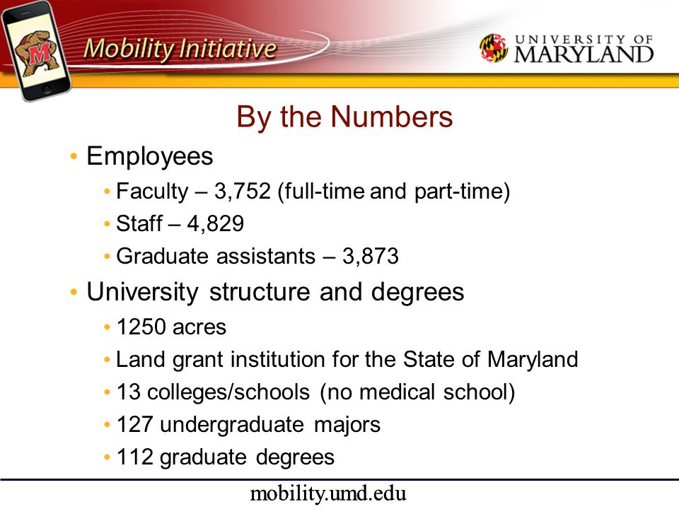 mobility.umd.edu Vision Going Forward • Development of a consortium for iTouch/iPhone applications for higher education • Clearinghouse for functions available • Open source availability • Cooperative development to avoid rampant duplication of effort • Quality assurance stamp of approval