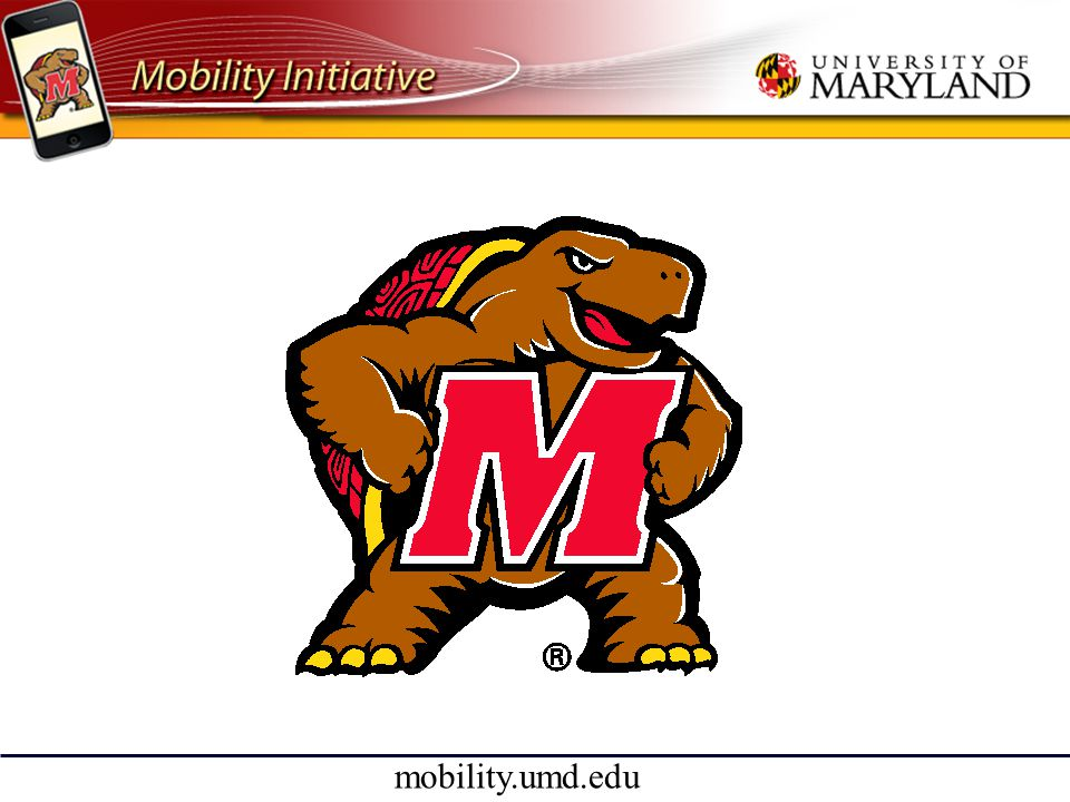 mobility.umd.edu MyeVyu • Quality of Life • Education • Social/community • Safety • Transportation • Support for • Students • Faculty • Staff • Visitors Integrate university services and enhance them with context (time, location, security,...)