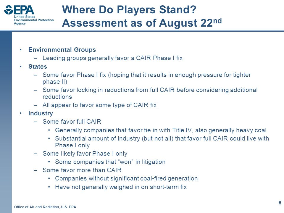 Office of Air and Radiation, U.S. EPA 6 Where Do Players Stand.