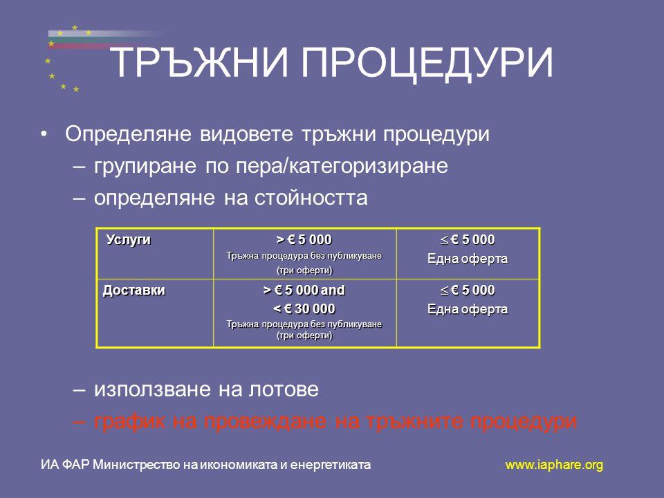 ТРЪЖНИ ПРОЦЕДУРИ •О•Определяне видовете тръжни процедури –г–групиране по пера/категоризиране –о–определяне на стойността –и–използване на лотове –г–график на провеждане на тръжните процедури Услуги Услуги > € 5 000 Тръжна процедура без публикуване (три оферти)  € 5 000 Една оферта Доставки > € 5 000 and < € 30 000 Тръжна процедура без публикуване (три оферти)  € 5 000 Една оферта