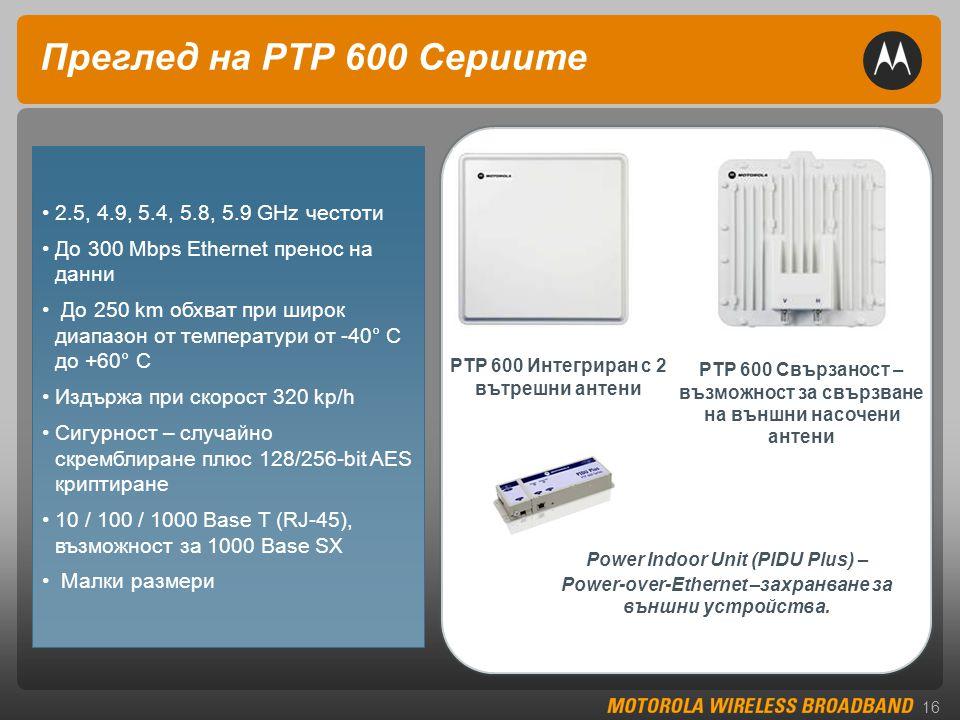 16 Преглед на PTP 600 Сериите PTP 600 Интегриран с 2 вътрешни антени PTP 600 Свързаност – възможност за свързване на външни насочени антени •2.5, 4.9, 5.4, 5.8, 5.9 GHz честоти •До 300 Mbps Ethernet пренос на данни • До 250 km обхват при широк диапазон от температури от -40° C до +60° C •Издържа при скорост 320 kp/h •Сигурност – случайно скремблиране плюс 128/256-bit AES криптиране •10 / 100 / 1000 Base T (RJ-45), възможност за 1000 Base SX • Малки размери Power Indoor Unit (PIDU Plus) – Power-over-Ethernet –захранване за външни устройства.