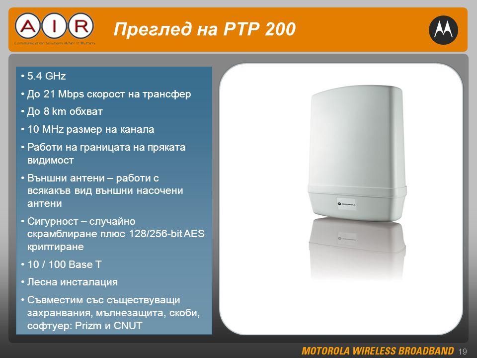 19 •5.4 GHz •До 21 Mbps скорост на трансфер •До 8 km обхват •10 MHz размер на канала •Работи на границата на пряката видимост •Външни антени – работи с всякакъв вид външни насочени антени •Сигурност – случайно скрамблиране плюс 128/256-bit AES криптиране •10 / 100 Base T •Лесна инсталация •Съвместим със съществуващи захранвания, мълнезащита, скоби, софтуер: Prizm и CNUT Преглед на PTP 200