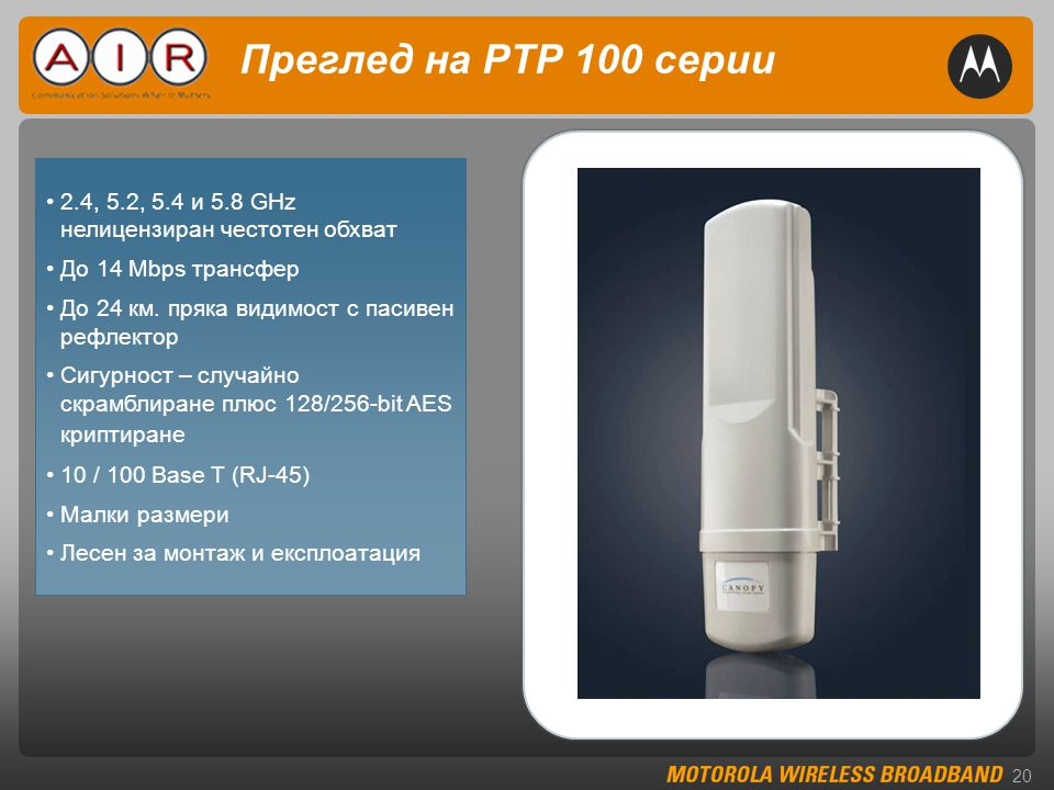 20 Преглед на PTP 100 серии •2.4, 5.2, 5.4 и 5.8 GHz нелицензиран честотен обхват •До 14 Mbps трансфер •До 24 км.