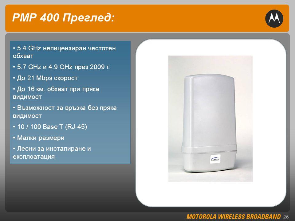 26 PMP 400 Преглед: • 5.4 GHz нелицензиран честотен обхват • 5.7 GHz и 4.9 GHz през 2009 г.