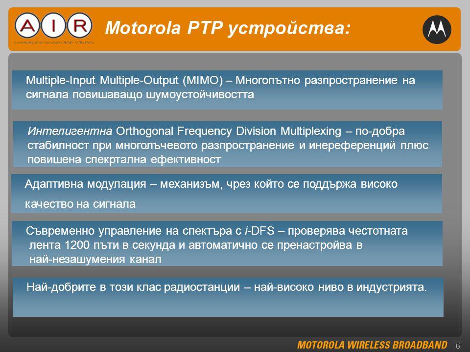 6 Motorola PTP устройства: Multiple-Input Multiple-Output (MIMO) – Многопътно разпространение на сигнала повишаващо шумоустойчивостта Интелигентна Orthogonal Frequency Division Multiplexing – по-добра стабилност при многолъчевото разпространение и инереференций плюс повишена спекртална ефективност Адаптивна модулация – механизъм, чрез който се поддържа високо качество на сигнала Най-добрите в този клас радиостанции – най-високо ниво в индустрията.