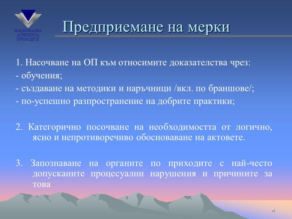 НАЦИОНАЛНА АГЕНЦИЯ ЗА ПРИХОДИТЕ 4 Предприемане на мерки 1. Насочване на ОП към относимите доказателства чрез: - обучения; - създаване на методики и на