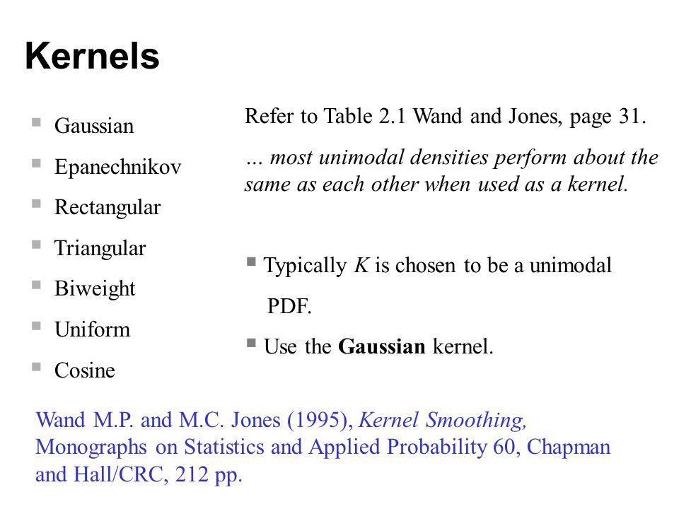 Kernels  Gaussian  Epanechnikov  Rectangular  Triangular  Biweight  Uniform  Cosine Wand M.P.