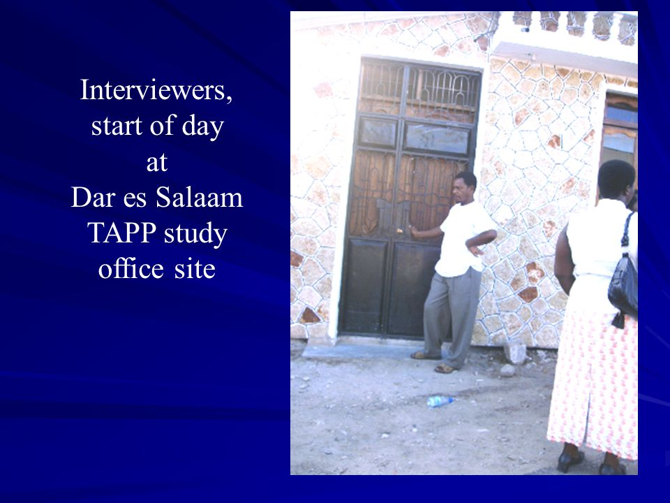 Interviewers, start of day at Dar es Salaam TAPP study office site