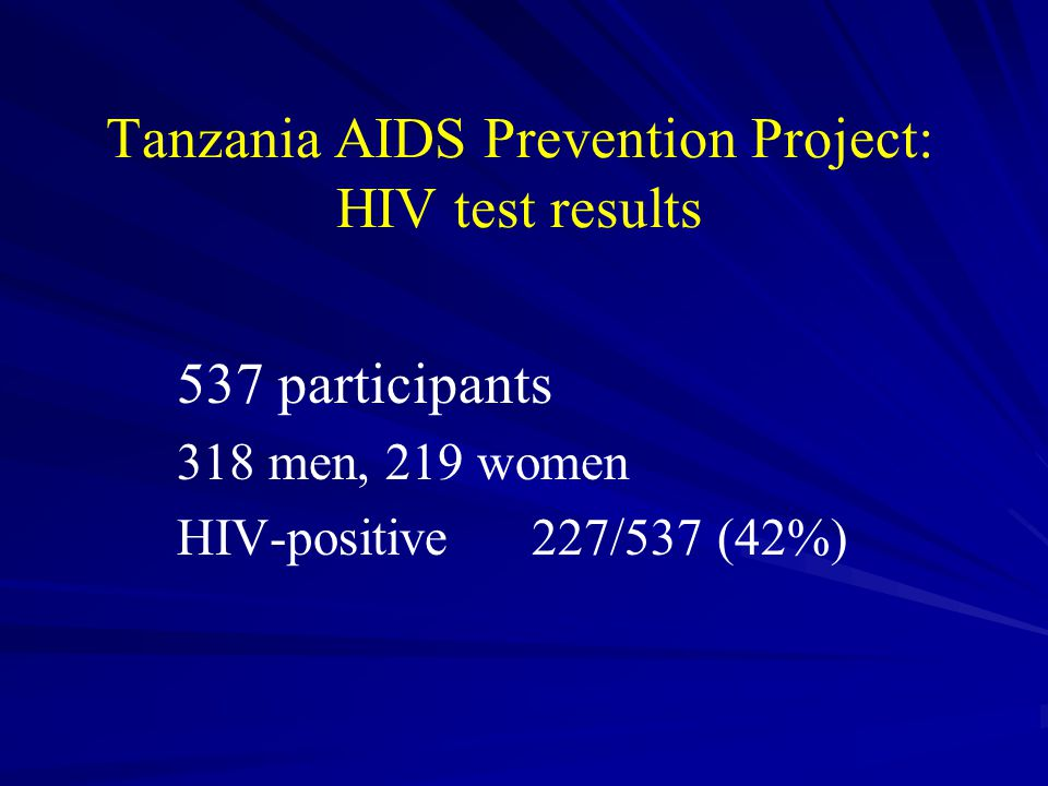Tanzania AIDS Prevention Project: HIV test results 537 participants 318 men, 219 women HIV-positive 227/537 (42%)