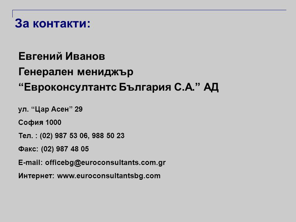 За контакти: Евгений Иванов Генерален мениджър Евроконсултантс България С.А. АД ул.