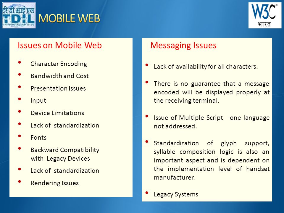 Issues on Mobile Web • Character Encoding • Bandwidth and Cost • Presentation Issues • Input • Device Limitations • Lack of standardization • Fonts • Backward Compatibility with Legacy Devices • Lack of standardization • Rendering Issues Messaging Issues • Lack of availability for all characters.