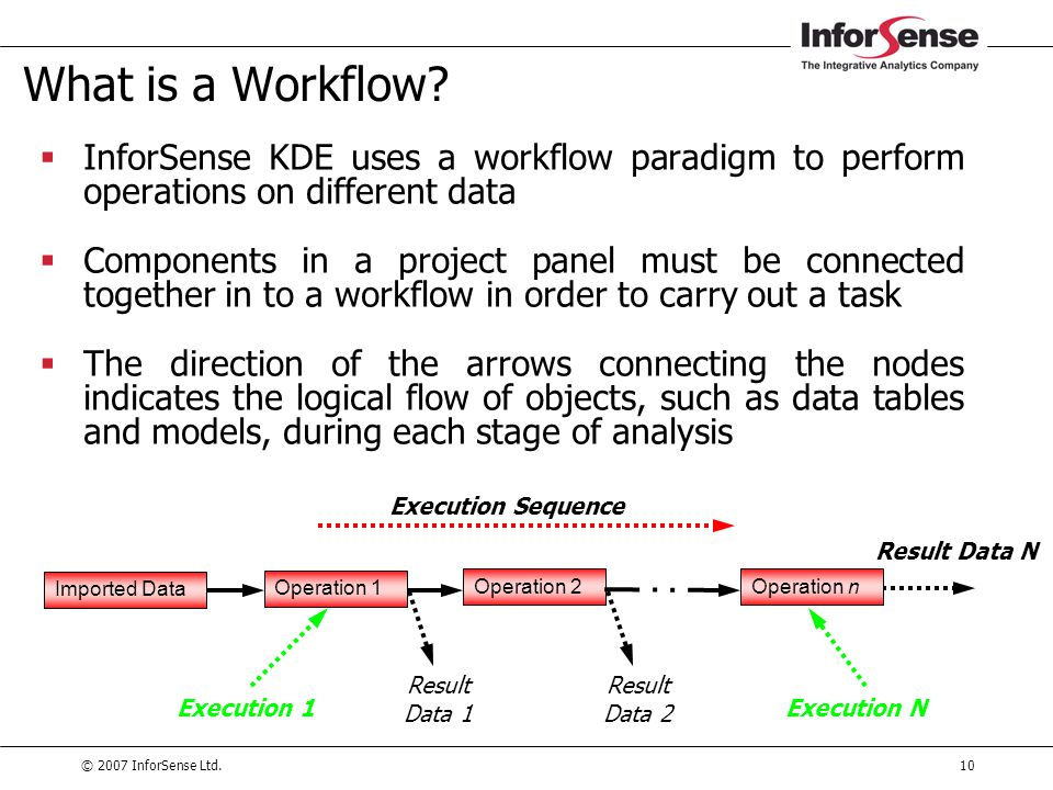 © 2007 InforSense Ltd.10 What is a Workflow?  InforSense KDE uses a workflow paradigm to perform operations on different data  Components in a proje