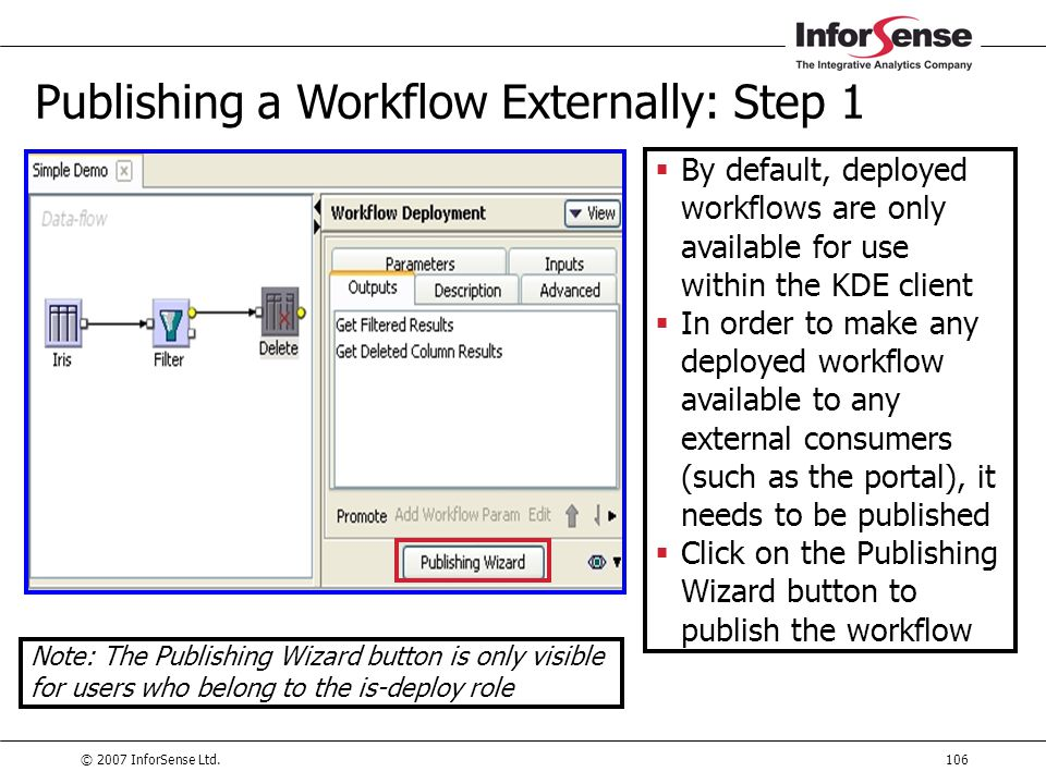© 2007 InforSense Ltd.106 Publishing a Workflow Externally: Step 1  By default, deployed workflows are only available for use within the KDE client 