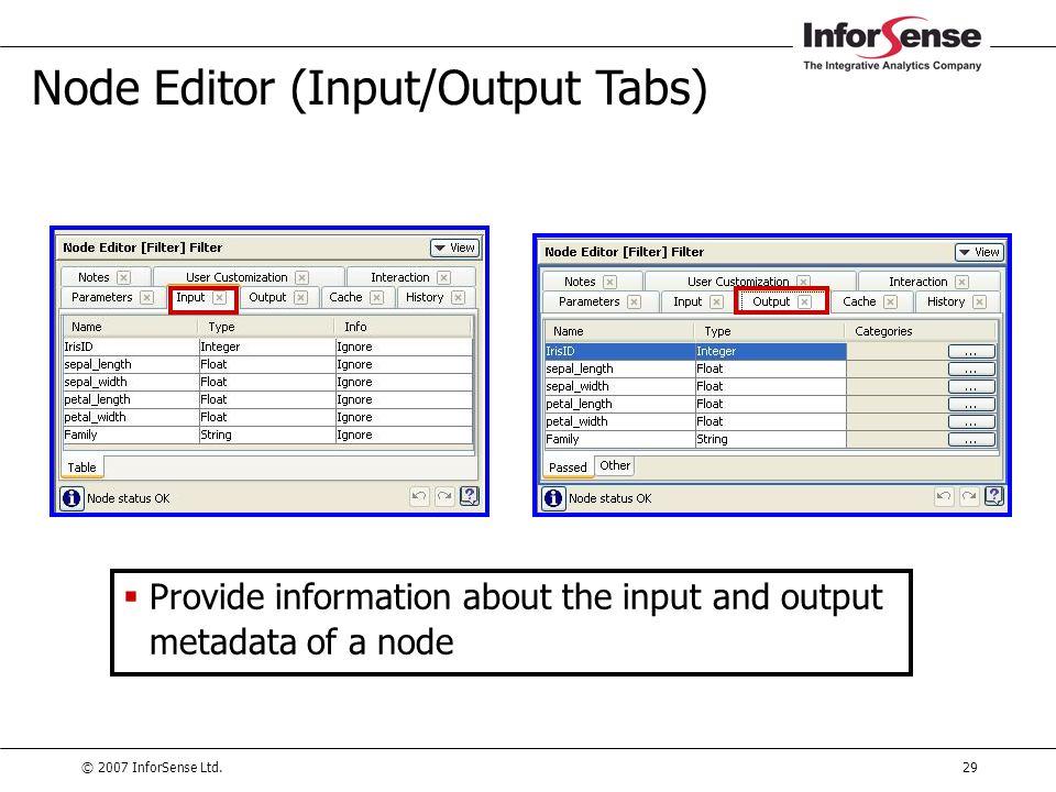 © 2007 InforSense Ltd.29 Node Editor (Input/Output Tabs)  Provide information about the input and output metadata of a node