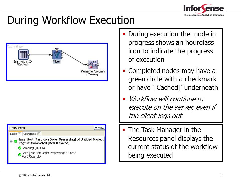 © 2007 InforSense Ltd.61 During Workflow Execution  During execution the node in progress shows an hourglass icon to indicate the progress of executi