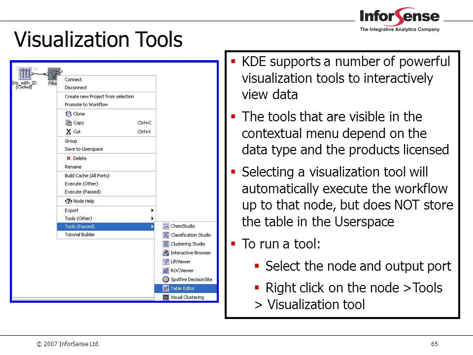 © 2007 InforSense Ltd.65 Visualization Tools  KDE supports a number of powerful visualization tools to interactively view data  The tools that are v