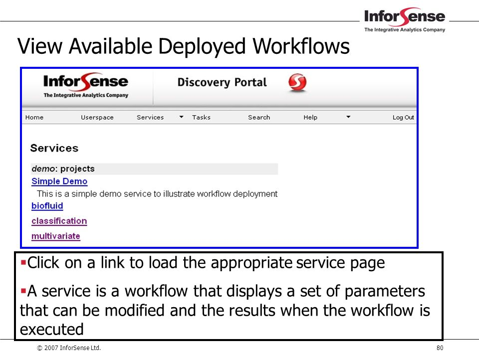 © 2007 InforSense Ltd.80 View Available Deployed Workflows  Click on a link to load the appropriate service page  A service is a workflow that displ