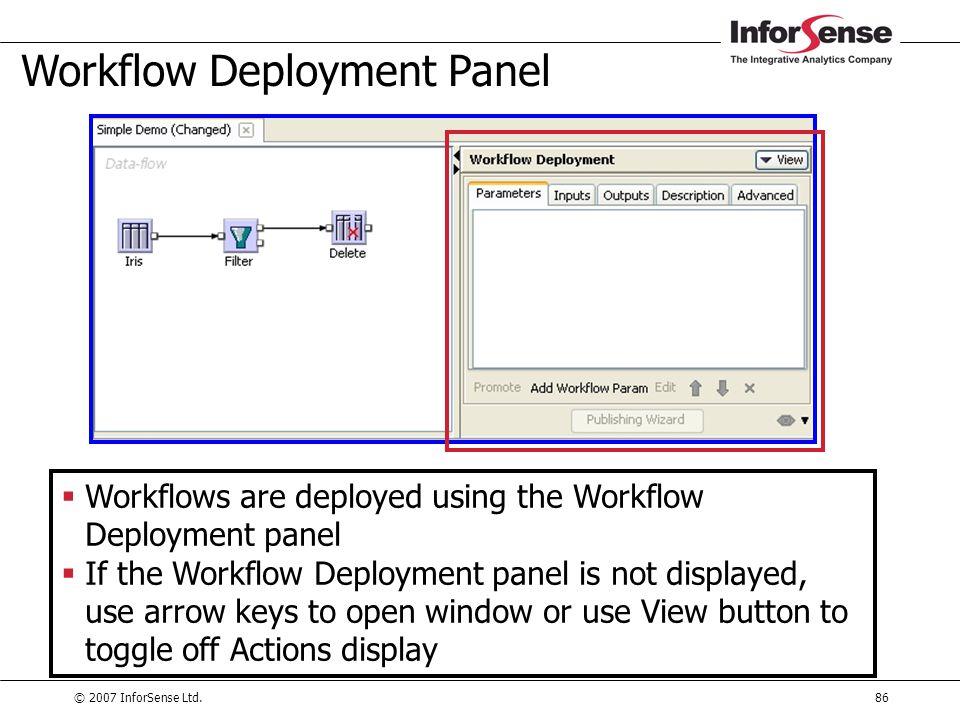 © 2007 InforSense Ltd.86 Workflow Deployment Panel  Workflows are deployed using the Workflow Deployment panel  If the Workflow Deployment panel is