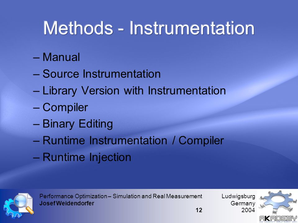Ludwigsburg Germany 2004 Performance Optimization – Simulation and Real Measurement Josef Weidendorfer 12 –Manual –Source Instrumentation –Library Ver