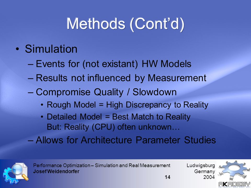 Ludwigsburg Germany 2004 Performance Optimization – Simulation and Real Measurement Josef Weidendorfer 14 •Simulation –Events for (not existant) HW Models –Results not influenced by Measurement –Compromise Quality / Slowdown •Rough Model = High Discrepancy to Reality •Detailed Model = Best Match to Reality But: Reality (CPU) often unknown… –Allows for Architecture Parameter Studies