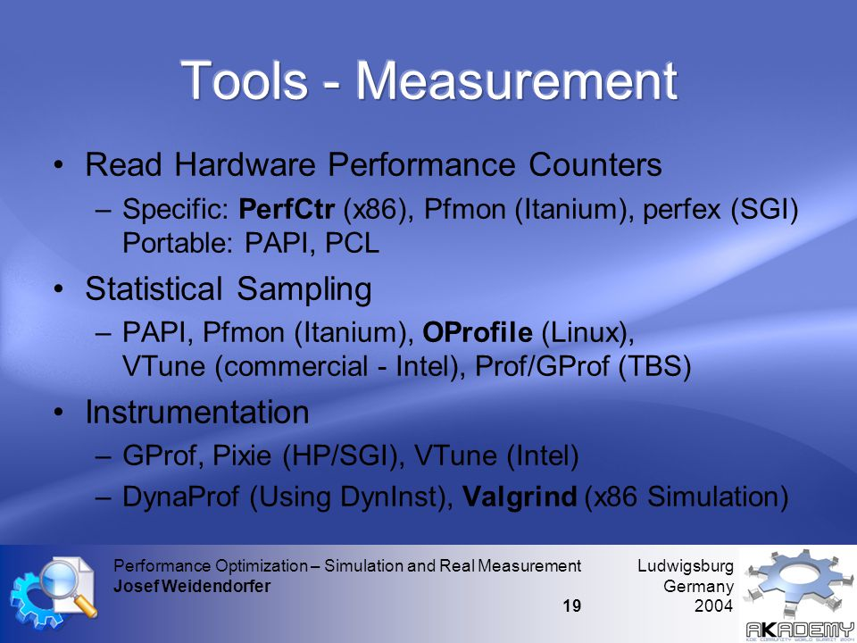Ludwigsburg Germany 2004 Performance Optimization – Simulation and Real Measurement Josef Weidendorfer 19 •Read Hardware Performance Counters –Specific: PerfCtr (x86), Pfmon (Itanium), perfex (SGI) Portable: PAPI, PCL •Statistical Sampling –PAPI, Pfmon (Itanium), OProfile (Linux), VTune (commercial - Intel), Prof/GProf (TBS) •Instrumentation –GProf, Pixie (HP/SGI), VTune (Intel) –DynaProf (Using DynInst), Valgrind (x86 Simulation)