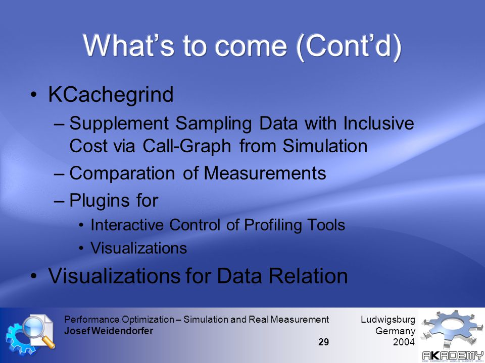 Ludwigsburg Germany 2004 Performance Optimization – Simulation and Real Measurement Josef Weidendorfer 29 •KCachegrind –Supplement Sampling Data with